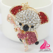 New Novelty Items Fashion Rhinestone Alloy Plush Panda Keychain