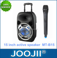 Portable 15 Inch Trolley DJ Speaker with USB/SD/FM Radio