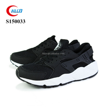 Genuine leather black mens soft sole sport running sneaker shoes