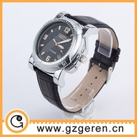 2014 new design round face black leather blank watch dial