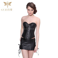 Sexy Women's Gothic Punk Bustier Faux Leather Corset with Skirt Set Plus Size