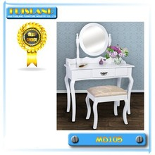 Wooden dressing table with mirror and stool