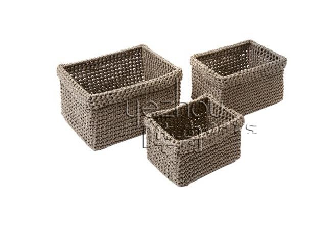 Juego de 3 cestas rectangulares crochet cuerda productos - Cesta de cuerda y ganchillo ...