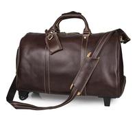 JMD Genuine Leather Trolley Bag Overnight Travel Wheel Long Luggage Bag # 7077LC
