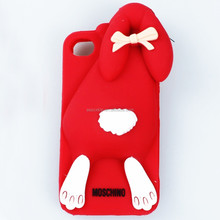 High quality 3d Cute Bucktooth Rabbit Soft Silicone Rubber Gel Case Cover Skin for iphone 4 4s Lovely Cell Phone Cases Covers