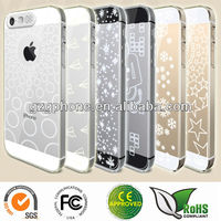 Clear hard case for iphone5/5s with glitter different figures
