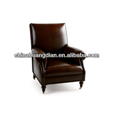 Faux Leather Sofa Chair With Wooden Legs Single Seat