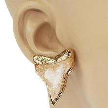 moda ematite in metallo pietra naturale druzy denti di squalo triangolo forma orecchino della vite prigioniera