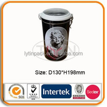 Airtight round tin box with clear pvc window and lock