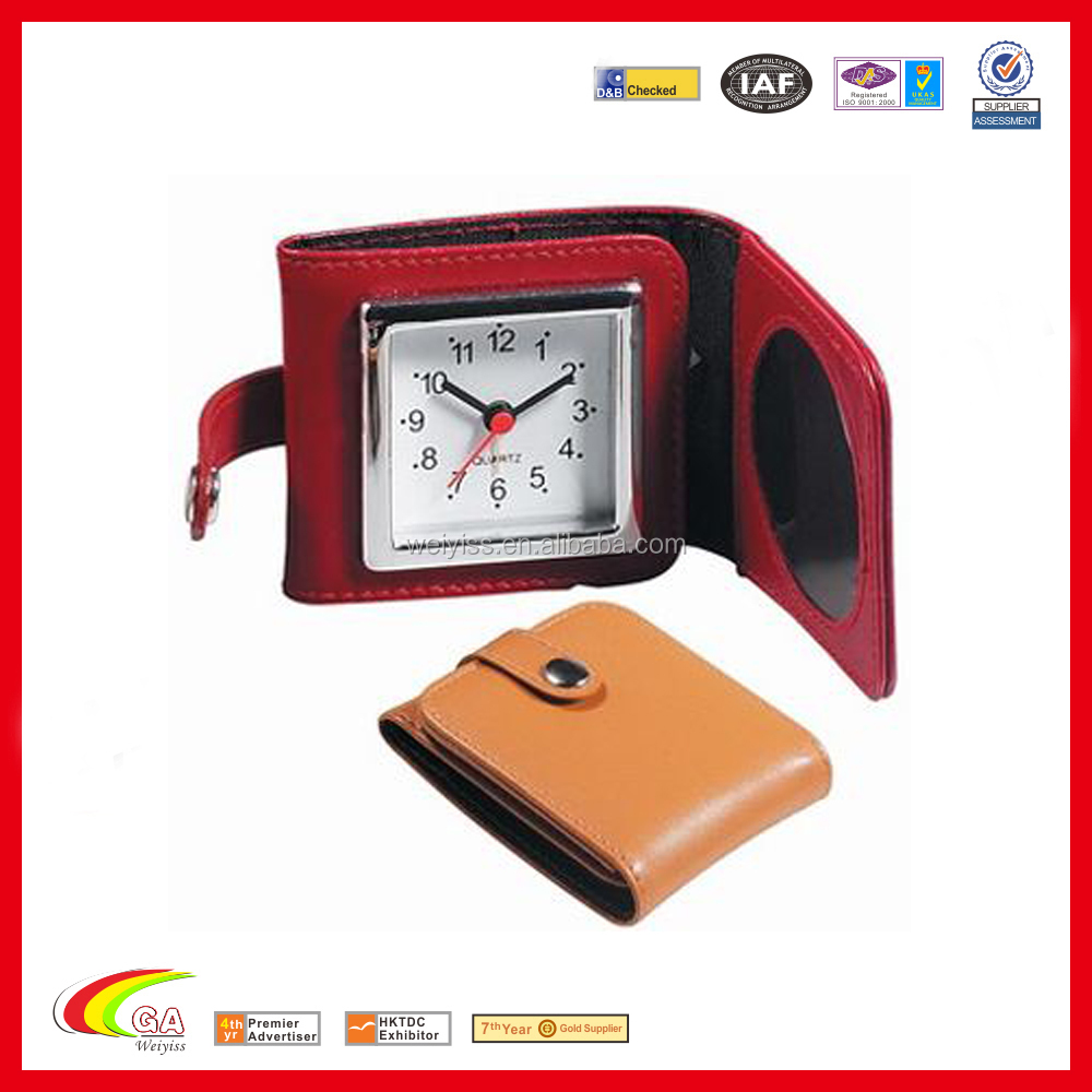 Custom New Design Ce Travel Alarm Clock Genuine Leather