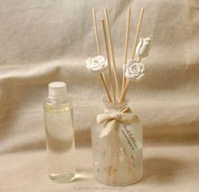 100ml Pierced Frosting Aroma Reed Diffuser Glass Bottle with Cotton Hanging Tag,Ceramic Rattans & Refilled Fragrance Oil