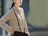 4-The Most Fashionable Office Lady Blouse Uniform,Flounced chiffon shirt summer wear fashion commute, for wholesale