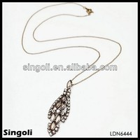 fashion long chain necklaces with indigenous materials