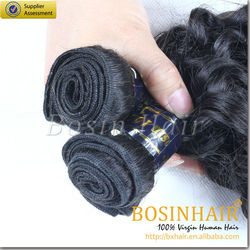 Double drawn cheap remy curly human hair weave wholesale