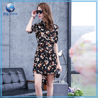 2015 fashion women sexy lace floral casual short sleeve summer dress&new style sublimation t shirt design for ladies