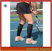 Black Nylon Leg Compression Sleeves For Men/Custom Graduated Calf Compression Sleeves For Tennis