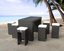 OUTDOOR WICKER BAR SET TABLE AND STOOLS PATIO FURNITURE WITH CUSHIONS