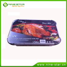 Factory Direct disposable rectangle aluminium foil container with lid