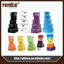 Tenice 2015 promotion colorful paper foldable living storage box for document, storage box for dvd