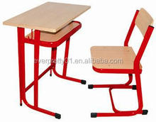 Cheap School Furniture Metal Student Study Desk and Chair Red Color MDF Board Table