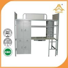 Arched school student apartment/dormitory steel single loft bed with computer desk/wardrobe/locker/bookshelf