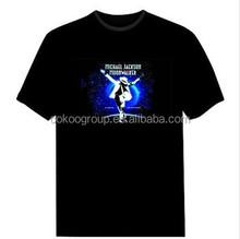 OEM Service China Manufacture Black T Shirt Women Wear Men's Clothing American popular LED t-shirt/light t-shirt