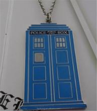 Punk Heavy Metal Fashion doctor who Box Blue Enamel 3D Tardis Blue necklace