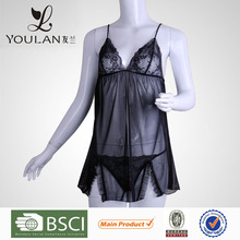 Made in China Polyamide Fibre Lace Transprent Lady Sheer Lingerie Nightdress