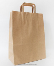 Factory direct sale machine made Recycled white&brown kraft paper bag with twisted paper handle and gift paper bag