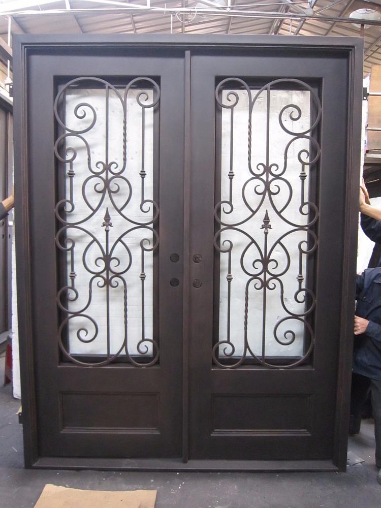 Sicurezza porta in ferro battuto vetro per disegno - Cancello porta ingresso ...