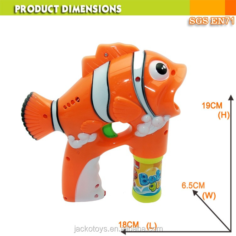 Lovely fish battery operated plastic bubble gun with led for Battery operated fish