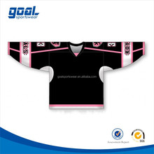 Paypal accept wholesale 100% polyester men's sublimated team black ice hockey jersey