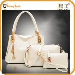 2015 new cheap product cream leather handbag set whosales NO MOQ