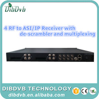 4 channels IRD(DVB-S/S2/C) satellite decoder with CI Slots receive encrypted channels for iptv headend