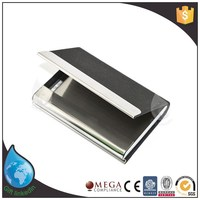Black Color PU Leather And Stainless Steel Business Name Card Case Holder