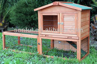 Wooden rabbit hutch with extra run