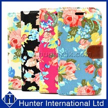 Printed Floral Jean Fabric For iphone6 Wallet Case