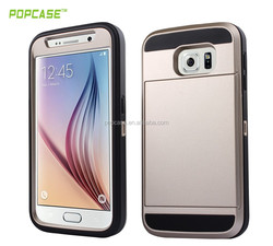 With holster and credit card hybrid phone case for samsung galaxy s6