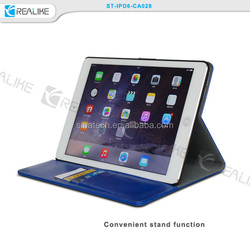 premium leather smart stand cover for ipad air 2, sleep and wake function case tablet for ipad air 2