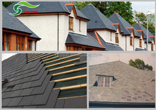 Grey slate stone coated roof tile