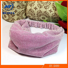 Korean Headdress Small Jewelry Wholesale Gold Polyester Elastic Hair Band Width as Small Fluorescent Dot
