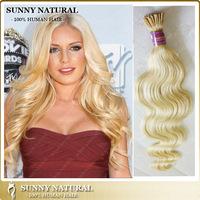 "10""-26"" blonde body wave i tip hair extensions human hair aliexpress hair 6A grade brazilian itip har extensioni"