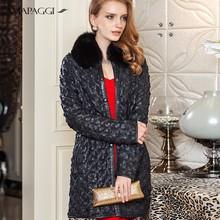 Women black slim sheepskin leather coats with fox collar lining Rex rabbit coat