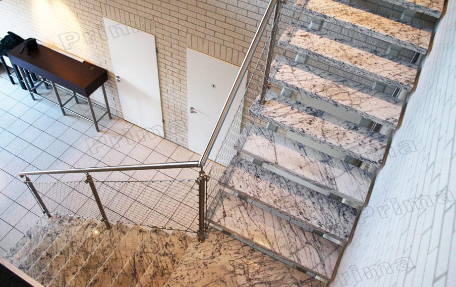 Diseño de escalera de acero inoxidable barandilla de malla con ...