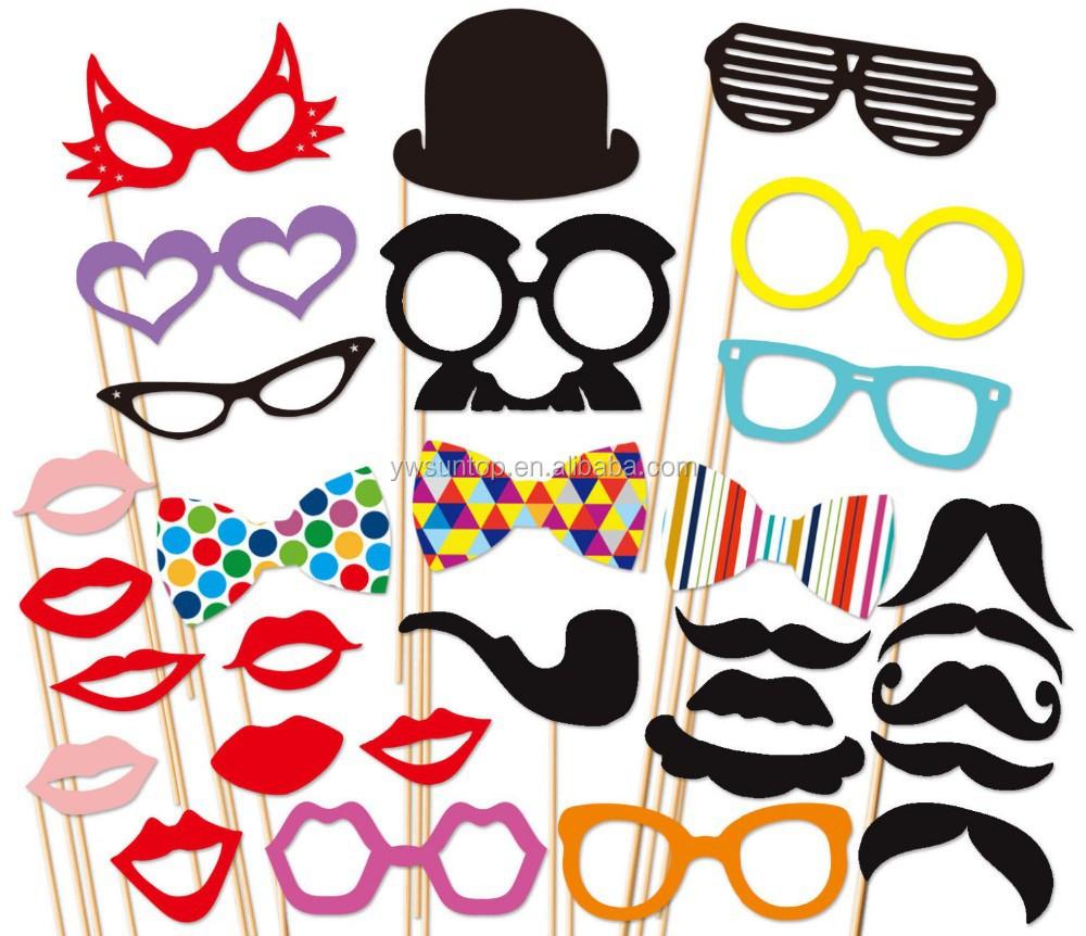 pas cher rouge l vres lunettes moustache photo booth props parti masque set d corations de. Black Bedroom Furniture Sets. Home Design Ideas