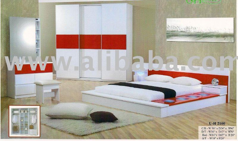 Chambre complete en bois moderne for Modele chambre a coucher moderne