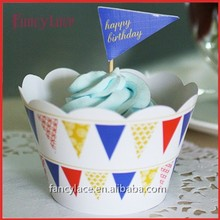 Hot Sale Party Gift Banner Flag Style Cupcake Wrapper Cake Picks Toppers for Birthday Party Decorations Supplies