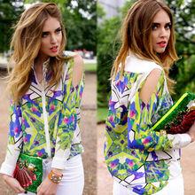 flores adulto ropa para mujer imprimió hombro manga larga blusa de gasa tapas camisa para mujer blusas para las mujeres 18814