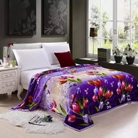 2015 new home textile flower design polyester fabric blanket price check south africa china wholesale