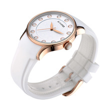 Simple Design White Silicone Watch with Stainless Steel Case